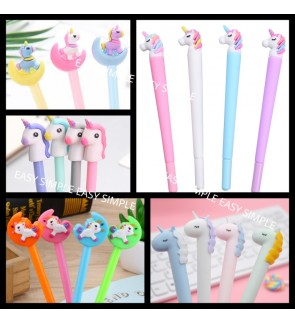 [Ready Stock] Cute 3D Unicorn Pony Ballpoint Pen Gel Kid Stationery Gift Party